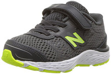 New Balance Boys' 680V5 Hook and Loop Running Shoe, Magnet/Hi Lite