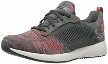 BOBS from Skechers Women's Bobs Squad Fashion Sneaker, Charcoal Orange