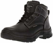 Skechers for Work Men's Burgin-Tarlac Industrial Boot,Black Embossed Leather