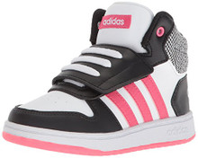 adidas Baby Hoops Mid  Sneaker, Core Black, Real Pink s, FTWR White