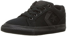 Converse Boys' EL Distrito Twill Low Top Sneaker, Black/Black/Black