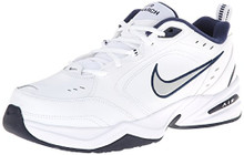 Nike Men's NIKE AIR MONARCH IV (4E) RUNNING SHOES White / Metallic Silver-Midnight Navy