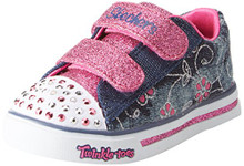Skechers Kids Girls' Sparkle Glitz-Denim Daisy Sneaker,Denim/Hot Pink