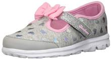 Skechers Kids Womens Go Walk - Bitty Heart 81162N (Infant/Toddler/Little Kid) Gray/Pink 11 Little Kid M