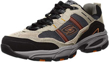Skechers Men's Vigor 2.0 Trait Memory Foam Sneaker, Taupe/Black, 11.5 M US