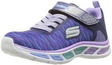 Skechers Kids Girls' Litebeams-Colorburst Sneaker, Navy/Lavender, Little Kid