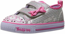 Skechers Kids Girls' Shuffles-Itsy Bitsy Sneaker,Silver/HOT Pink, Toddler