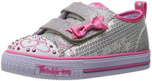 Skechers Kids Girls' Shuffles-Itsy Bitsy Sneaker,Silver/HOT Pink Toddler