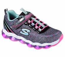Skechers Kids Girls' Glimmer Lights Sneaker, Black/Multi, Little Kid