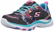 Skechers Kids Girls' Trainer Lite Sneaker,Black/Multi, Little Kid