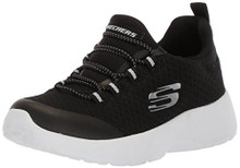 Skechers Kids Girls' Dynamight-Race N'Run Sneaker,Black/White,Little Kid