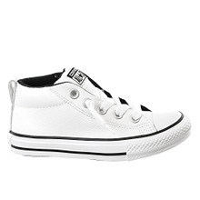 Converse Boys Kids Chuck Taylor All Star Street Mid Top Leather Fashion Sneaker Shoe, White