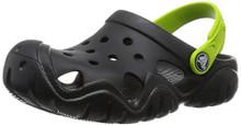 Crocs Kids' Swiftwater K Clog (Toddler/Little Kid), Black/Volt GreenLittle Kid