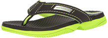New Balance Boys' Mojo Thong Flip Flop, Black/Lime Little Kid