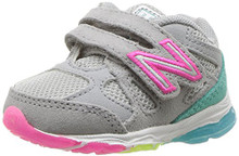 New Balance Girls' 888v1 Hook and Loop Running Shoe, Silver Mink/Rainbow Toddler