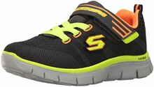 Skechers Kids Flex Advantage Master Mind Sneaker (Little Kid/Big Kid),Charcoal/Orange,3 M US Little Kid