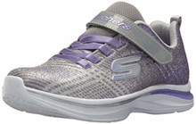 Skechers Kids Girls' Double Dreams Sneaker,Gray/Lavender,5 Medium US Big Kid