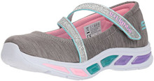 Skechers Kids Girls' Litebeams-Spin N'Sparkle Sneaker, Gray/Multi, 10.5 Medium US Little Kid