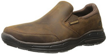 Skechers Mens Relaxed Fit Glides Calculous Slip On,Dark Brown,US 12 M