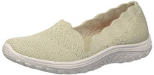 Skechers Women's Reggae Fest-Trail Dame-Scalloped Collar, Engineered Skech-Knit Slip-On Loafer, Natural, 9.5 M US