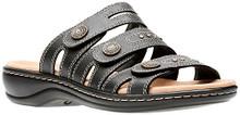 Clarks Women's Leisa Lakia Black Leather Velcro Strap Sandal Size: 9, Width: Medium