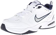NIKE Men's Air Monarch IV Athletic Shoe, white/metallic silver, 10.5 Regular US
