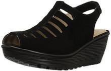 Skechers Women's Parallel-Trapezoid Wedge Sandal,Black,6 M US