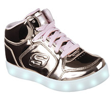 Skechers Kids Energy Lights-Dance-N-Dazzle Sneaker, Rose Gold, Little Kid