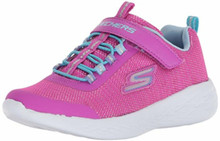 Skechers Kids Girls Dynamight-Break-Through Sneaker, Navy/Multi, Little