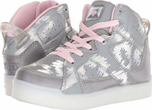 Skechers Energy Lights E-Pro Reflecti-Fab Girls' Toddler-Youth Sneaker Big Kid Silver-Pink