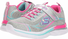Skechers Kids Girl's Quick Kicks 81291L (Little Kid/Big Kid) Gray/Multi, Little Kid