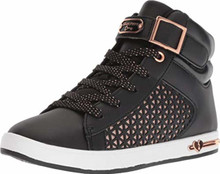 Skechers Kids Girl's Shoutouts Edgy Glam 84357L (Little Kid/Big Kid) Black/Rose Gold, Big Kid M