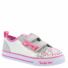 Skechers Twinkle Toes Shuffles Itsy Bitsy Girls Light up Sneakers Silver/Hot Pink