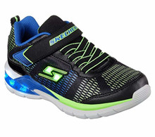 Skechers Kids Boys' Erupters II-Lava Waves Sneaker,Black/Blue/Lime, Medium US Little Kid