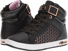 Skechers Kids Girl's Shoutouts Edgy Glam 84357L (Little Kid/Big Kid) Black/Rose Gold Little Kid M