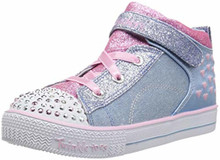 Skechers Kids Girls' Shuffle Lite-Dainty Denims Sneaker, Light Blue/Pink, Little Kid