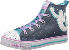 Skechers Kids Girls' Twinkle LITE-Magnificent MERM Sneaker, Denim/Multi, Little Kid