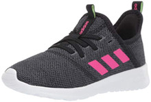 adidas Kids Cloudfoam Pure, Black/Shock Pink/Grey, 3 M US Little Kid
