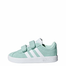 Adidas Toddler Vl Court 2-0 Cmf Girls Fashion Sneakers Clear Mint/White/White 7 M Us Toddler