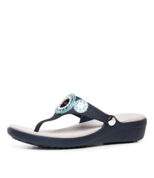 Crocs Women'S Sanrah Diamante Wedge Flip W Sandal, Navy/Turquoise, 9 M Us