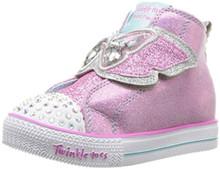 Skechers Kids Girls' Shuffle LITE-Flutter FLOATIES Sneaker, Pink/Silver, 10 Medium US Toddler