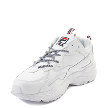 Fila Mens RAY Tracer Sneaker,White/Navy/RED,8.5