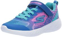 Skechers Kids Girls' GO Run 600-RADIANT Runner Sneaker, Blue/Multi, 4.5 Medium US Big Kid