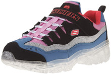 Skechers Kids Girls' ICE Lights Sneaker, Black/Pink/Purple, 1.5 Medium US Little Kid