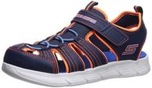 Skechers Kids Boys' C-Flex Sandal-ISOBLAST Sneaker, Navy/Orange, 3 Medium US Little Kid