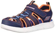 Skechers Kids Boys' C-Flex Sandal-ISOBLAST Sneaker, Navy/Orange/Blue, 12 Medium US Little Kid