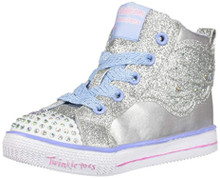 Skechers Kids Girls' Shuffle LITE-Dainty WINGZ Sneaker, Silver, 5 Medium US Toddler