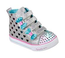 Skechers Kids Girls' Shuffle LITE-Fancy Flutters Sneaker, Gray/Multi, 7 Medium US Toddler