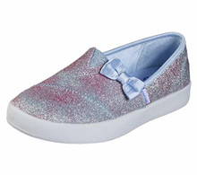 Skechers Girl's Lil BOBS B-Loved - Sparkle Ella, Alpargata, Silver, Light Blue, 1 US M Little Kid