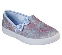 Skechers Girl's Lil BOBS B-Loved - Sparkle Ella, Alpargata, Silver, Light Blue, 1.5 US M Little Kid